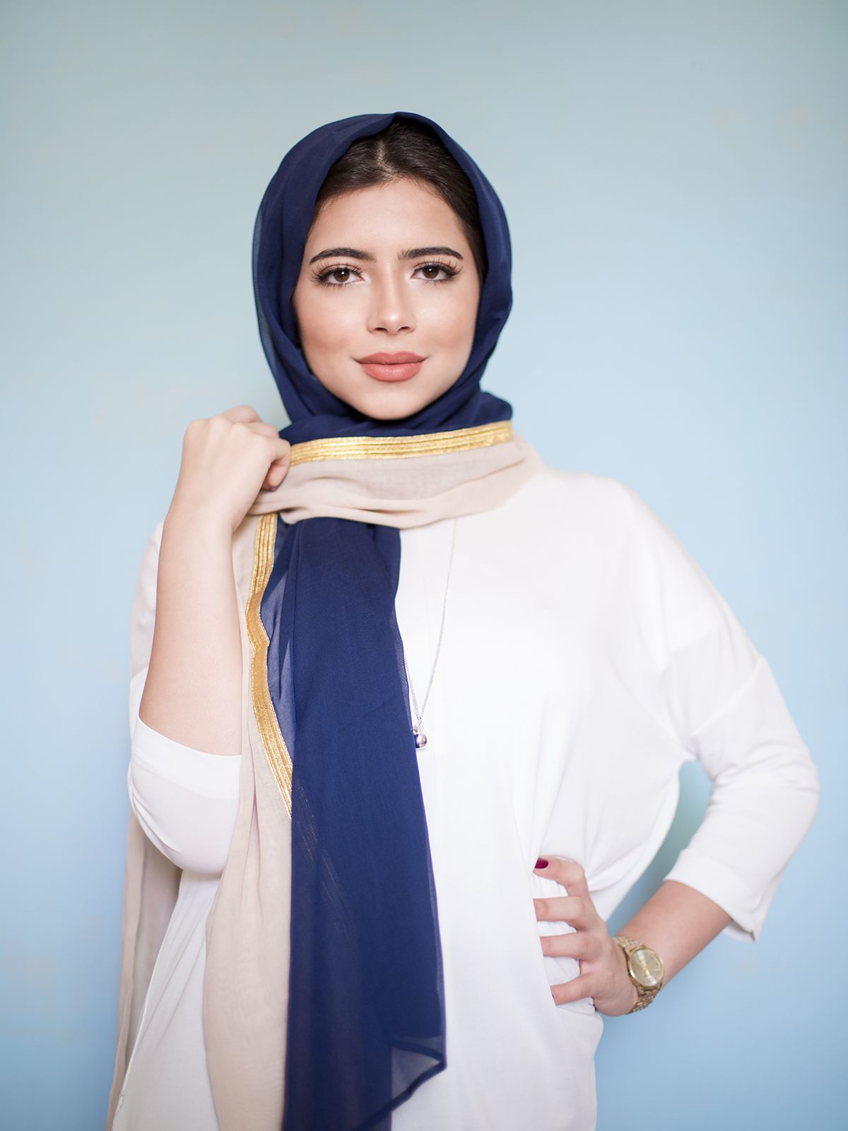 Navy with Meshlah and Beige Stripe